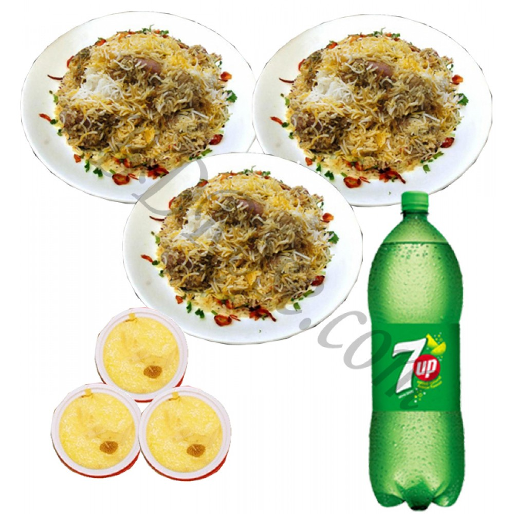 Fakruddin kachchi biryani with firney and seven up