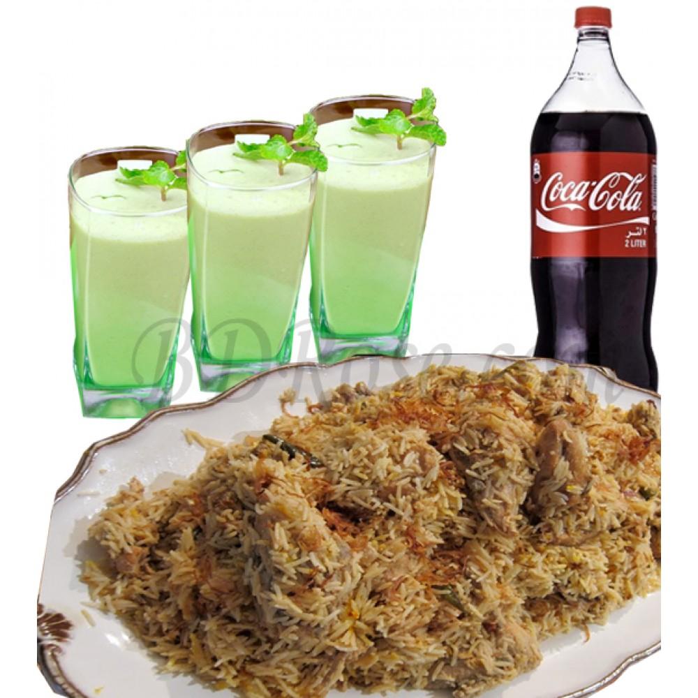 Star kachchi biryani with coke and borhani