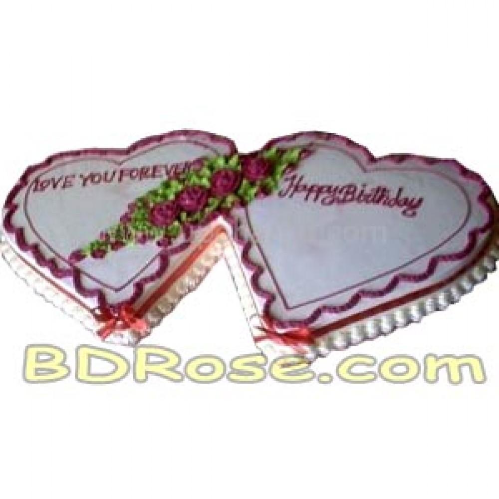 Yummy Yummy – 8.8 Pounds Vanilla Double Heart Shape Cake