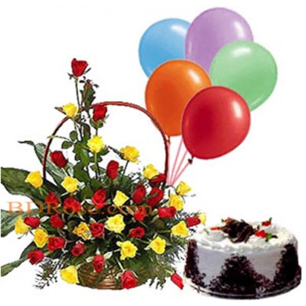 Balloons W / Black forest Mr. Baker cake & Mixed Roses Basket