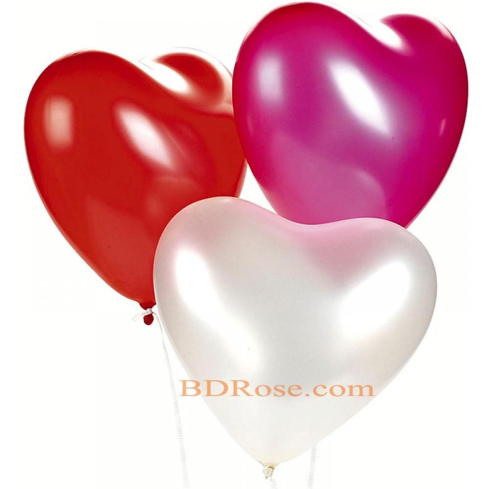3 pcs heart shaped Balloons Bouquet