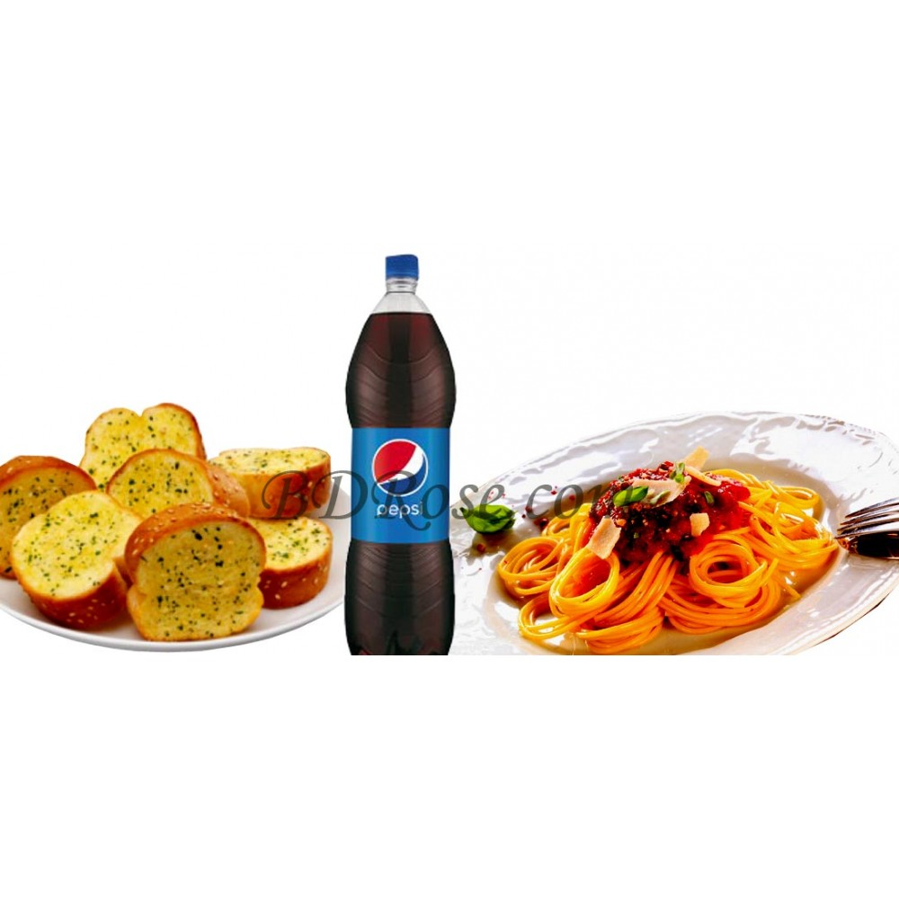 Bolognaise with Garlic Bread & Pepsi