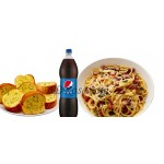 Carbonara with Garlic Bread & Pepsi