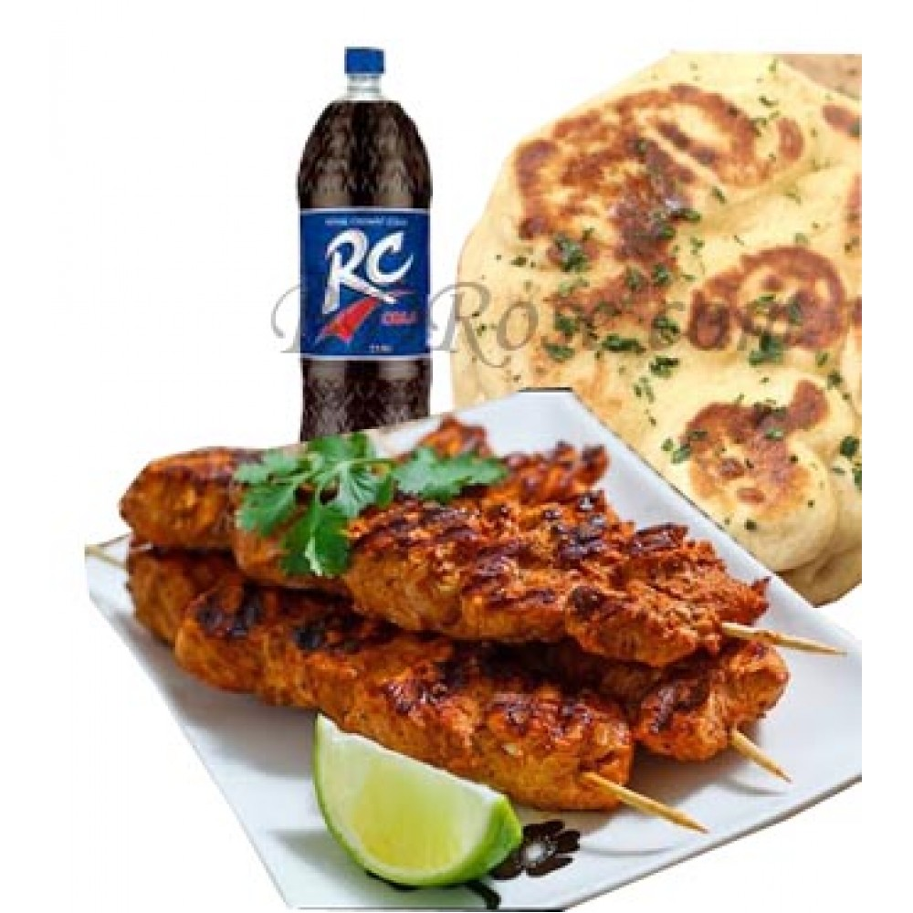 3 piece Beef Sheek Kabab W/ 2 Naan and RC cola