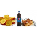 Lasagna with Garlic Bread & Pepsi