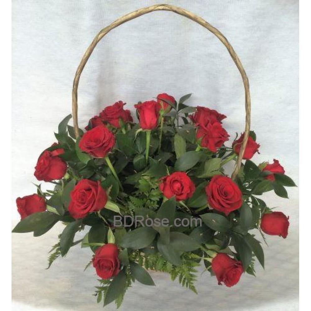 18 Round Handle Basket Rose