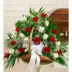 24 bold Red & white roses basket