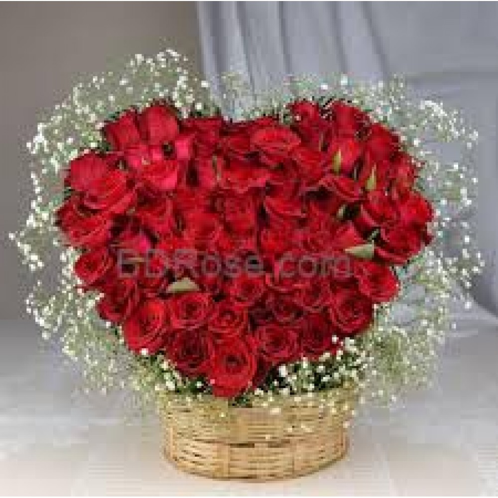 50 Heart Shape Roses in Basket