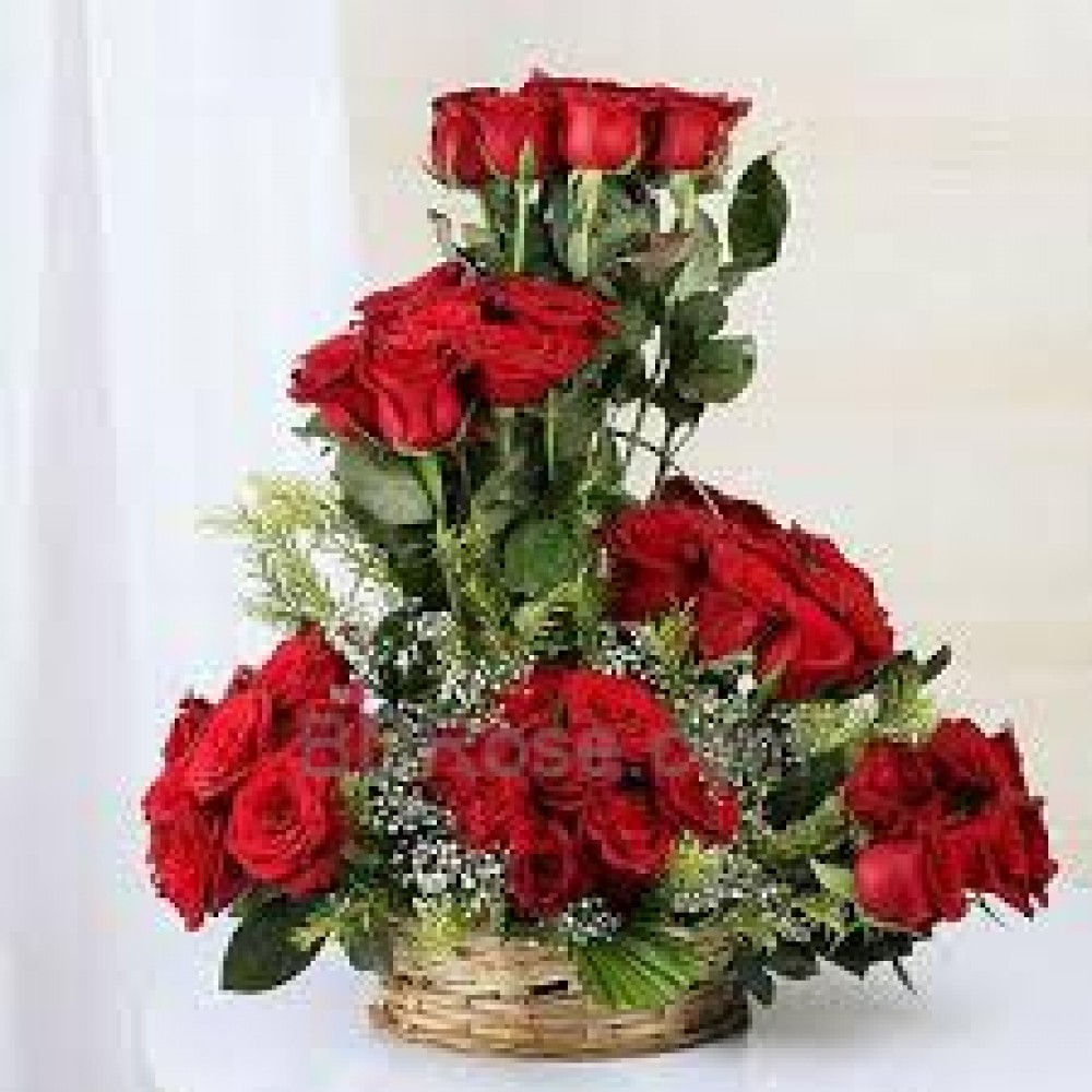 36 Imported Red Roses Basket