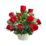 10 Red Roses in Basket
