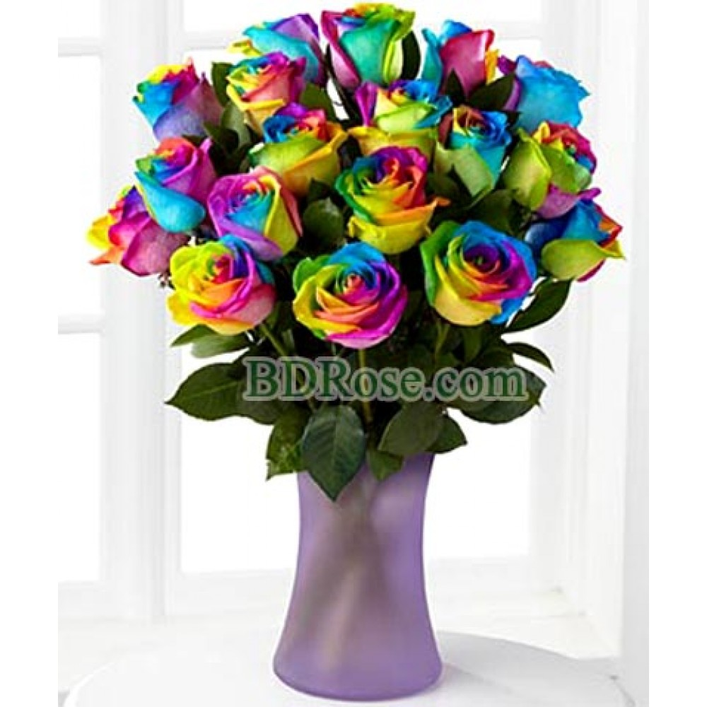 18 pcs Rainbow Roses in a Vase