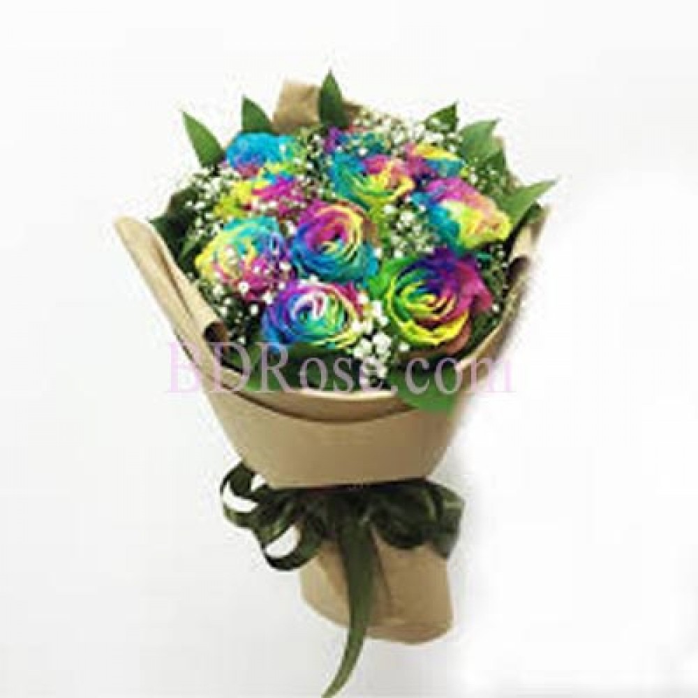 8 pcs Rainbow Rose in a bouquet
