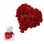 Heart Shape Roses & Teddy Bear