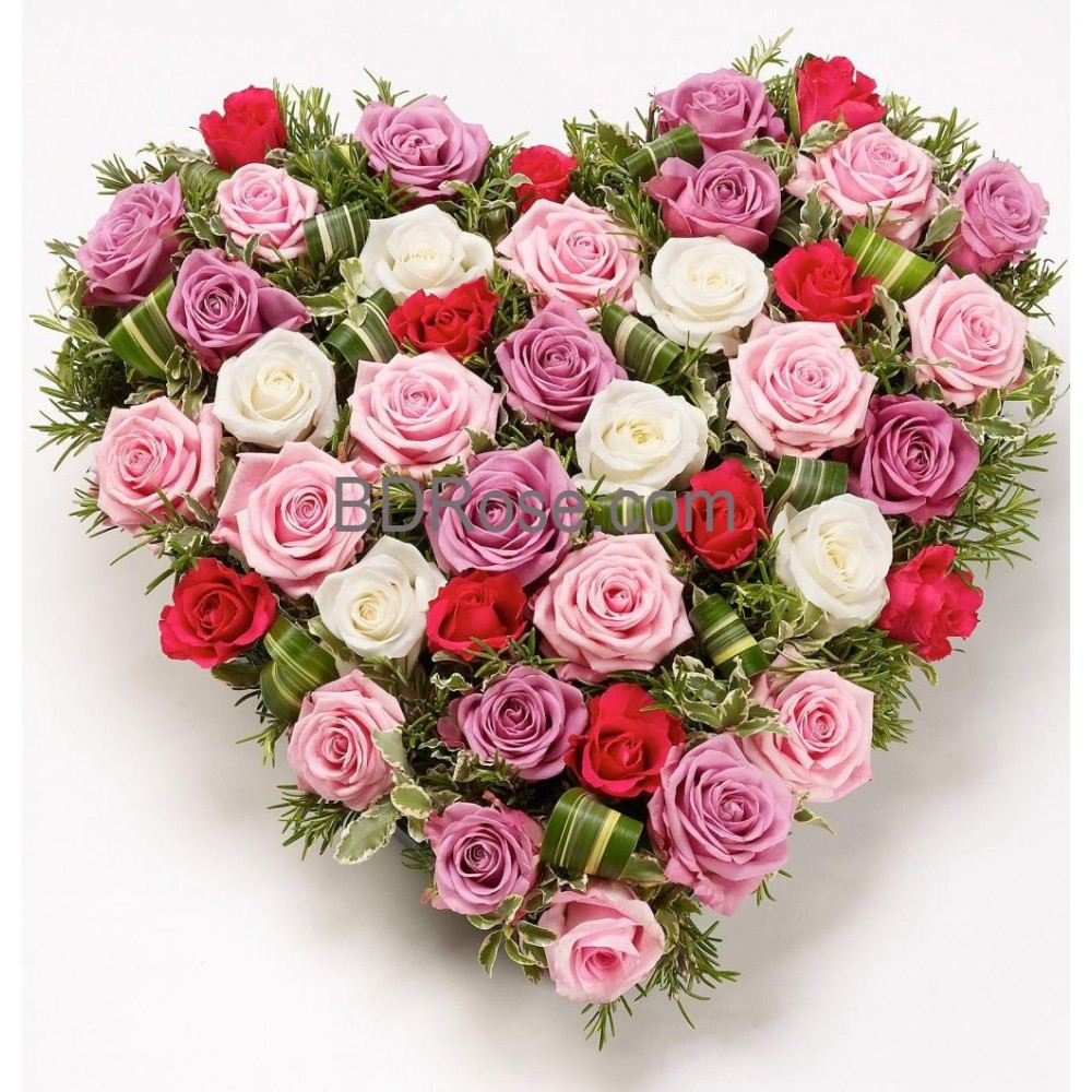 Mixed color heart shape Rose Basket