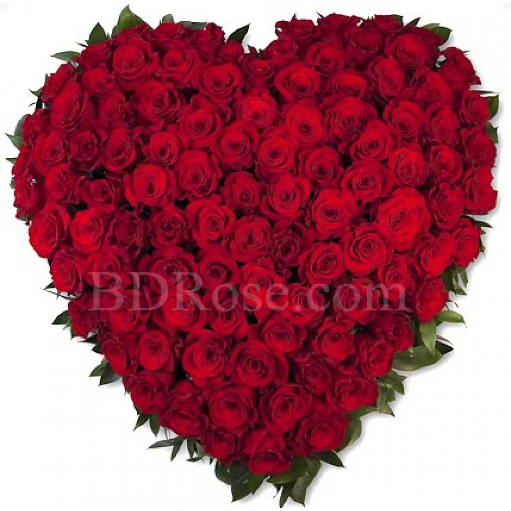 100pcs red roses in heart shape basket