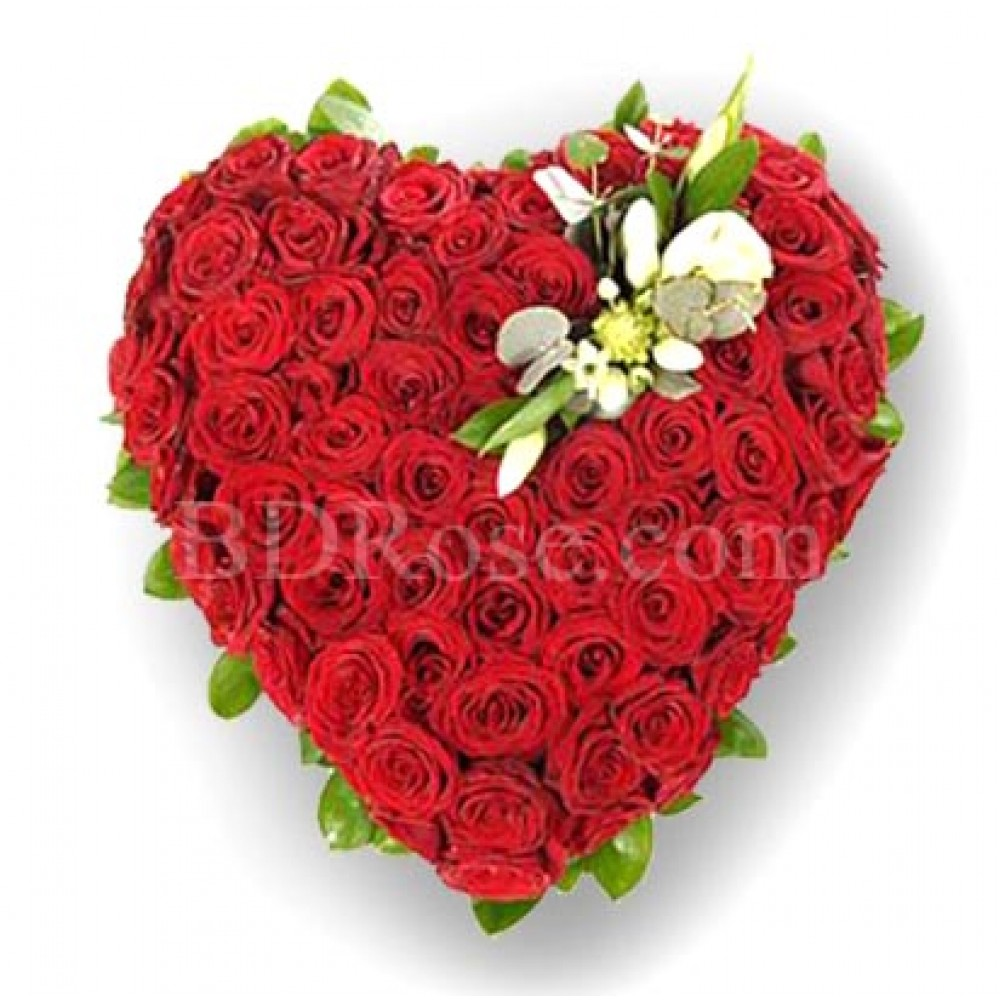 100 pcs red roses in a heart shape basket