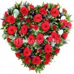50pcs red roses in heart shape basket