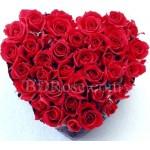 50pcs heart shape red roses
