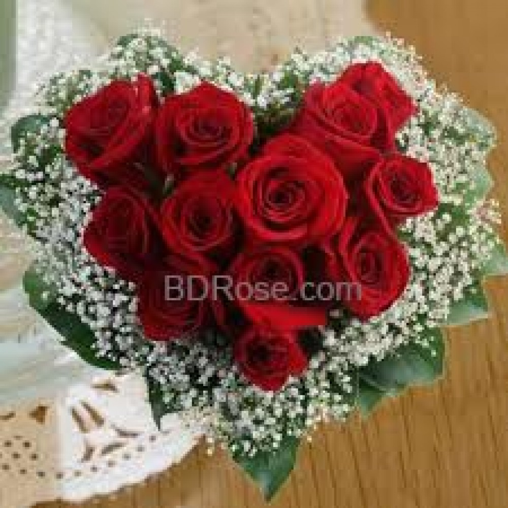 12 Red heart shape rose