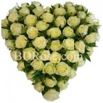 50 pcs white roses in a heart shape basket
