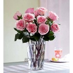 12pcs Imported Pink Roses in a Vase