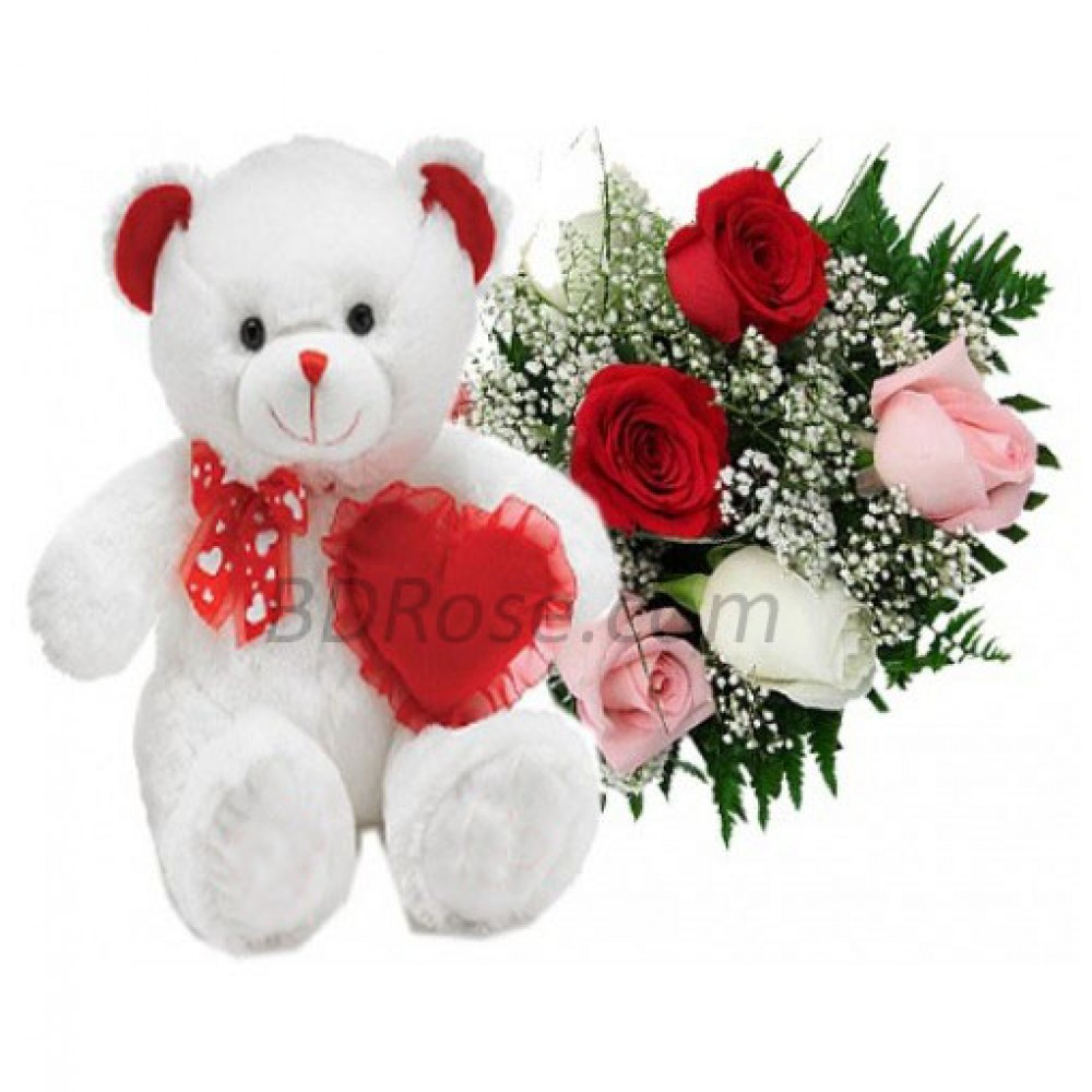 Flower Bouquet W/ Teddy Bear