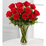 12pcs Imported Red Roses in a Vase