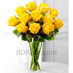 12pcs Yellow Imported Roses in a Vase