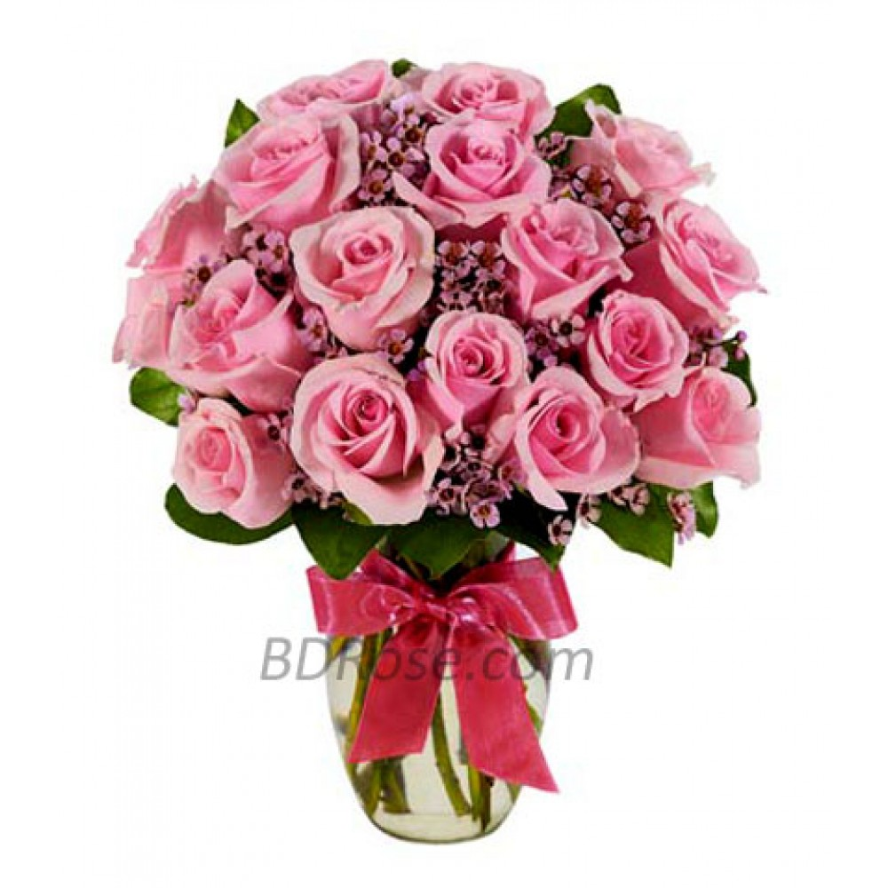 2 Dozen Imported Pink Roses In A Vase