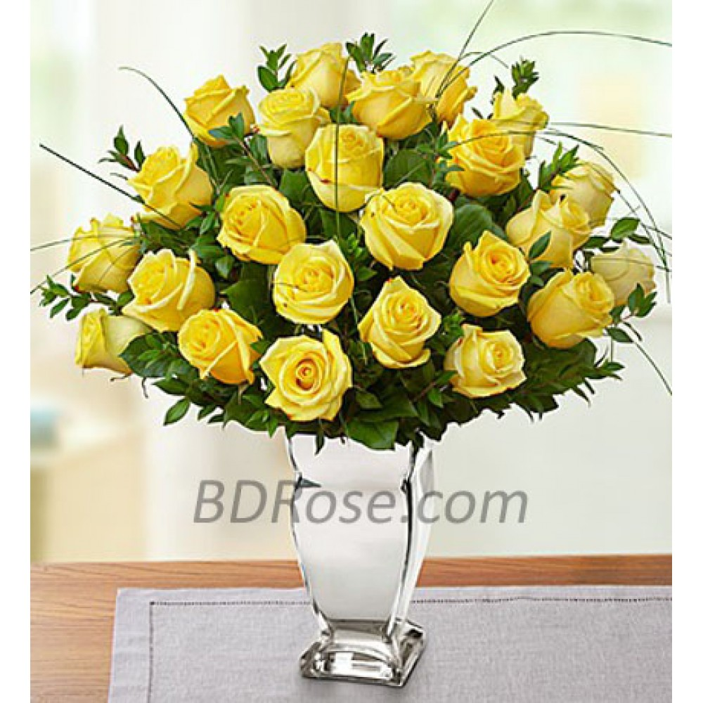 2 dozen Imported Yellow Roses in a Vase