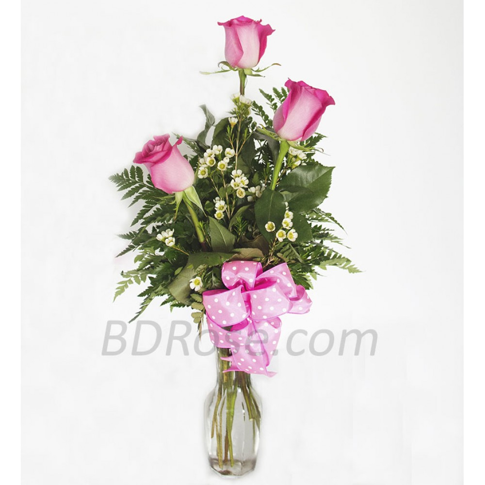 3pcs Imported Pink Roses In A Vase