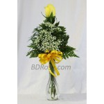 Imported single Yellow Rose in a vase