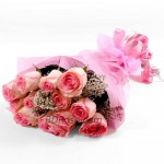 12pcs Imported Pink Roses in a Bouquet