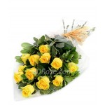 12pcs Imported Yellow Roses in a Bouquet