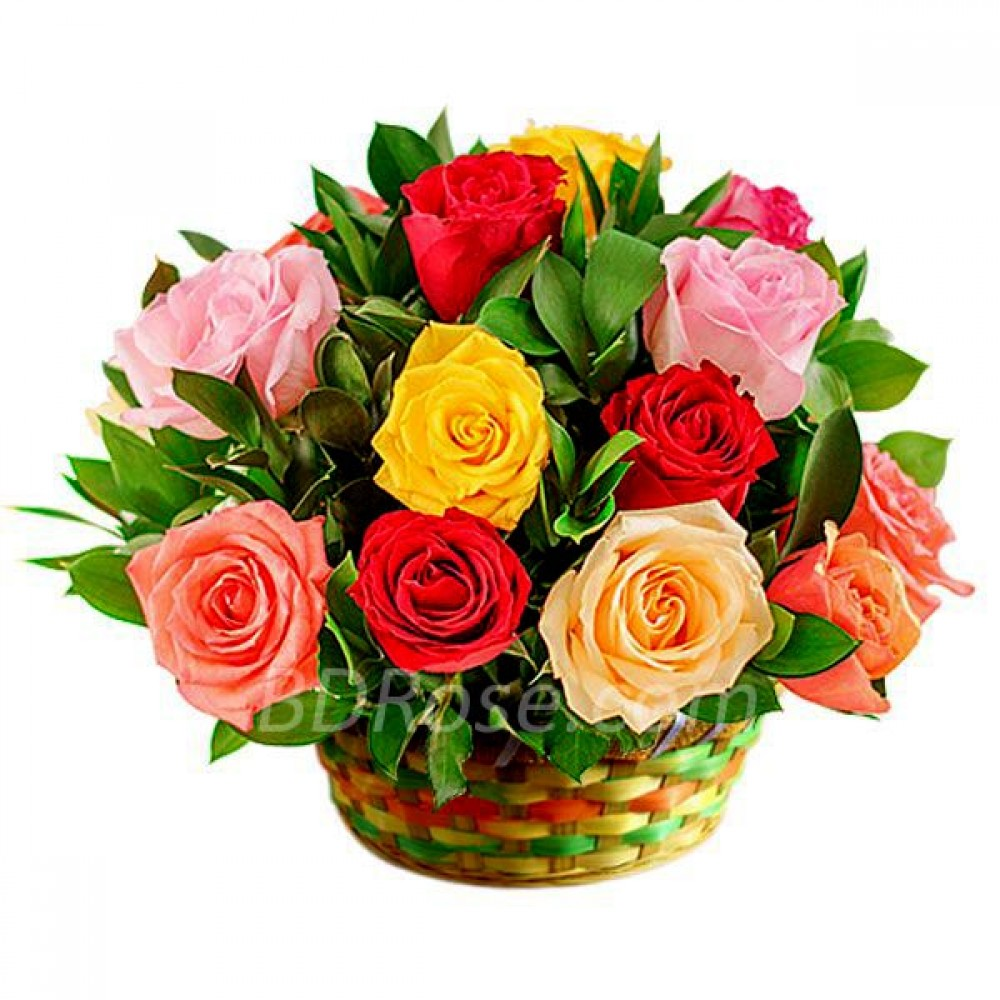 12pcs Mixed Color Imported Roses in a Basket