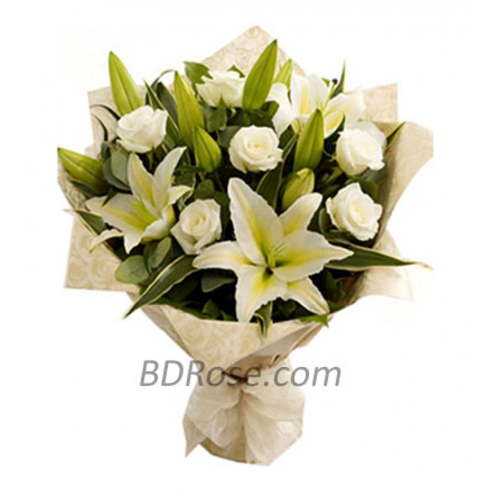 Imported White Roses & Lilies in Bouquet