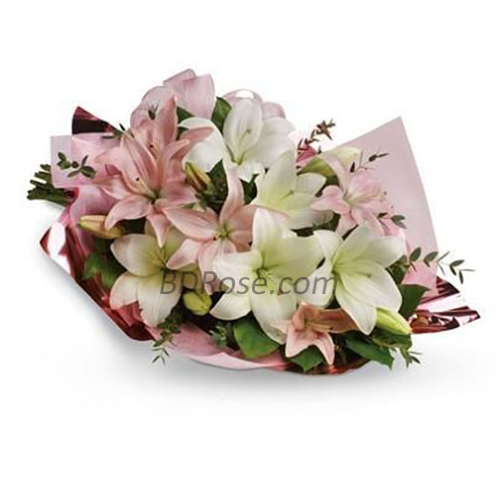 Pink and White Lilies Bouquet
