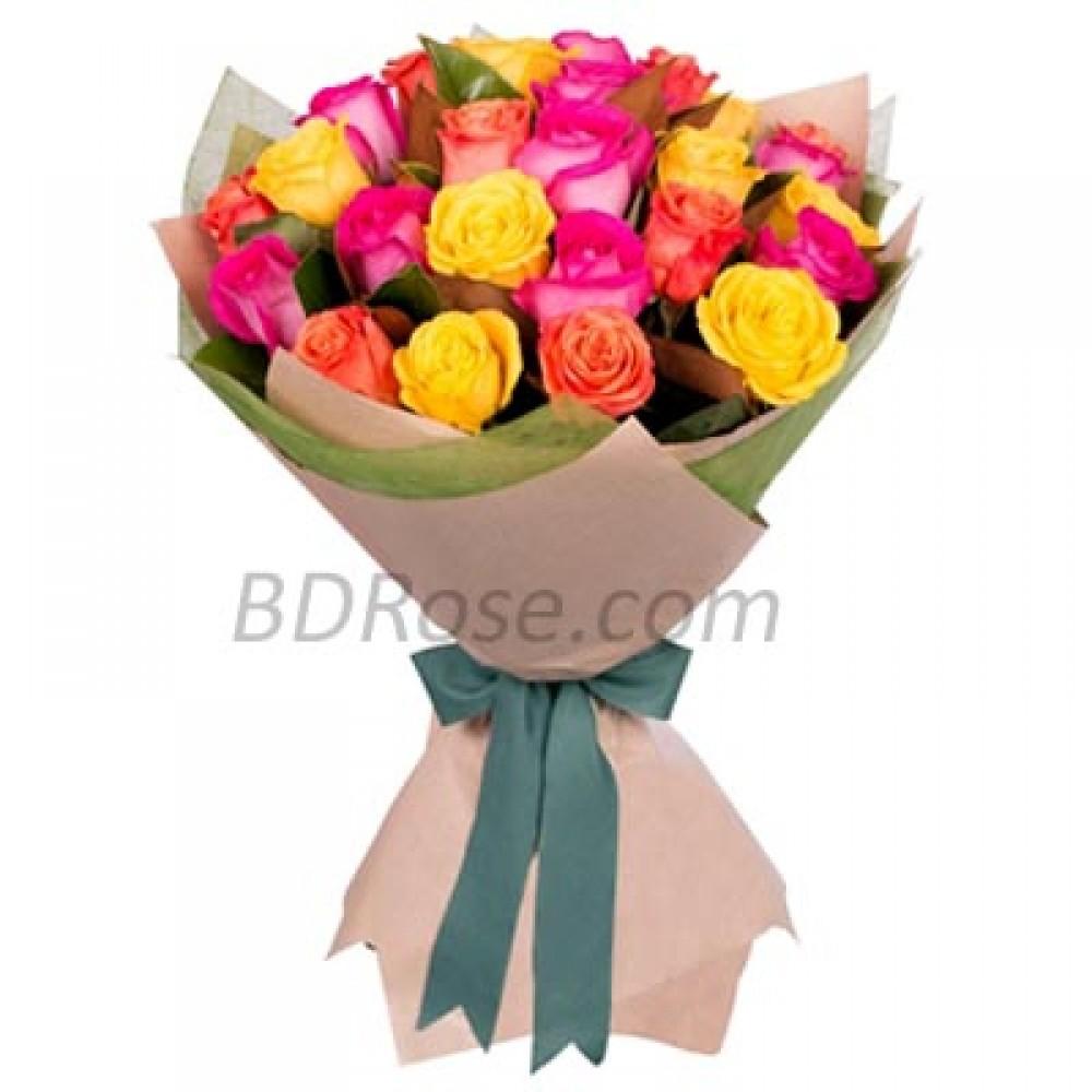 2 dozen Imported mix color Roses in Bouquet