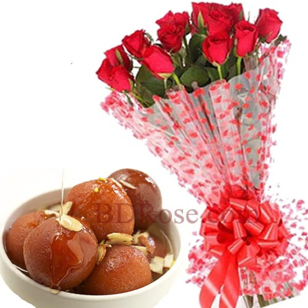 Red roses with Lalmohon sweets