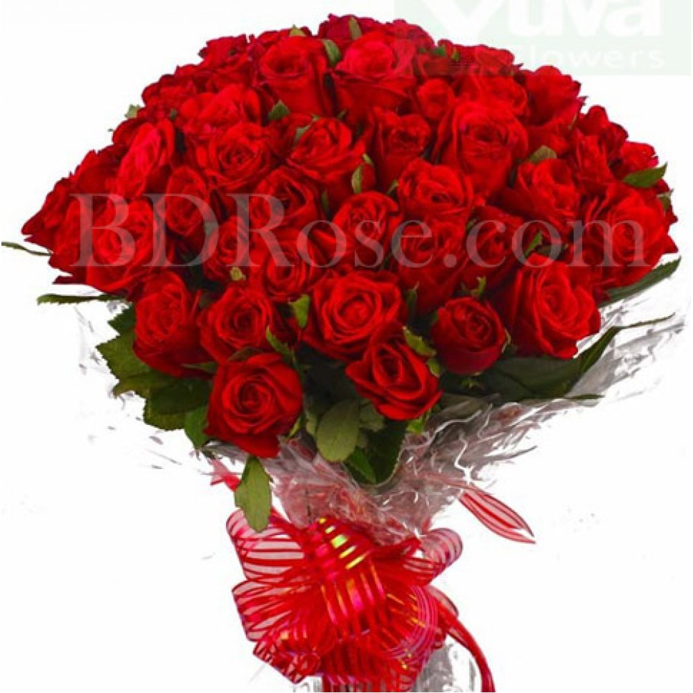 50 pcs pure and fresh red roses in bouquet