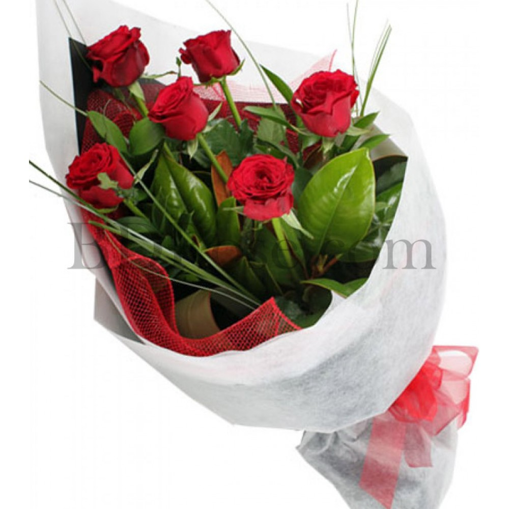 6 pcs red roses in bouquet