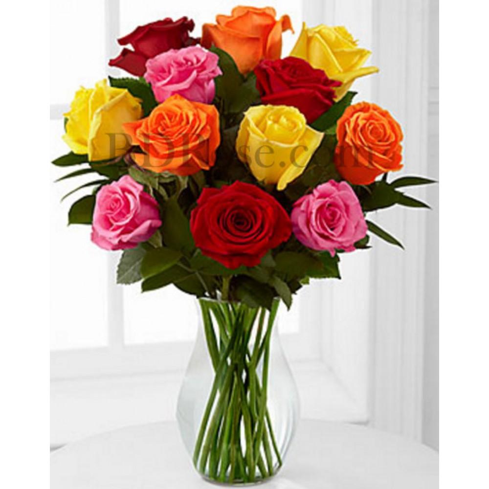 12 pcs multi color roses in vase